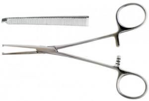 Зажим Кохер одно двузубый зубчатый прямой № 2 по Ochsner-Kocher. Длина 16 см, рабочая часть 40 мм
