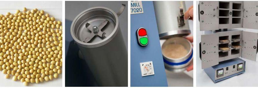 Измельчение сои перед анализом на влажность в сушильном шкафу